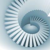Αφηρημένη μπλε άσπρη σπειροειδής εσωτερική προοπτική με τα σκαλοπάτια Στοκ φωτογραφίες με δικαίωμα ελεύθερης χρήσης