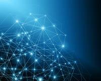 Αφηρημένη μπλε ανασκόπηση Υπόβαθρο τεχνολογίας, από την καλύτερη έννοια σειράς του παγκόσμιου επιχειρηματικού πεδίου Στοκ εικόνα με δικαίωμα ελεύθερης χρήσης