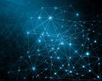 Αφηρημένη μπλε ανασκόπηση Υπόβαθρο τεχνολογίας, από την καλύτερη έννοια σειράς του παγκόσμιου επιχειρηματικού πεδίου Στοκ Εικόνες