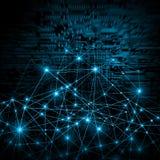 Αφηρημένη μπλε ανασκόπηση Υπόβαθρο τεχνολογίας, από την καλύτερη έννοια σειράς του παγκόσμιου επιχειρηματικού πεδίου Στοκ Φωτογραφίες