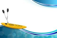 Αφηρημένη μπλε κίτρινη απεικόνιση αθλητικών πλαισίων καγιάκ υποβάθρου Στοκ εικόνες με δικαίωμα ελεύθερης χρήσης