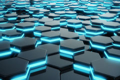 Αφηρημένη μπλε πυράκτωση του φουτουριστικού hexagon σχεδίου επιφάνειας τρισδιάστατη απόδοση διανυσματική απεικόνιση