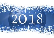 Αφηρημένη νέα ευχετήρια κάρτα έτους 2018 με την μπλε σφαίρα Χριστουγέννων και snowflakes το υπόβαθρο Στοκ εικόνα με δικαίωμα ελεύθερης χρήσης