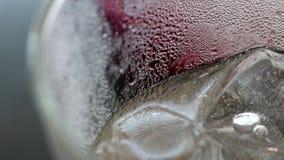 Αφηρημένη ομορφιά με λεπτομέρειες ποτών Ακραία κινηματογράφηση σε πρώτο πλάνο της παγωμένης σόδας χυμού δαμάσκηνων στο γυαλί