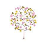 Αφηρημένη ομορφιά φύσης άνοιξη λουλουδιών δέντρων γυναικεία διανυσματική απεικόνιση