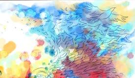 Αφηρημένη ονειροπόλος μύγα πουλιών ελεύθερη απεικόνιση δικαιώματος