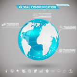 Αφηρημένη παγκόσμια επικοινωνία Infographics με τη σφαίρα σφαιρών πλανήτη Γη εικονιδίων για την γκρίζα διανυσματική απεικόνιση Bac Στοκ Φωτογραφία