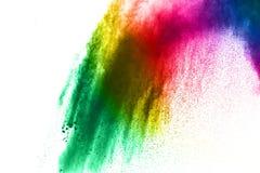 Αφηρημένη πολύχρωμη έκρηξη σκόνης στο άσπρο υπόβαθρο Στοκ Φωτογραφίες
