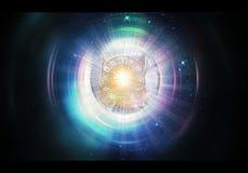 Αφηρημένη πολύχρωμη τρισδιάστατη δίνοντας απεικόνιση του έργου τέχνης πυλών ενός καμμένος υψηλότερου διάστασης ουρανού ελεύθερη απεικόνιση δικαιώματος
