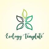 Αφηρημένη πράσινη οικολογία φύλλων και ιατρικό πρότυπο λογότυπων Στοκ Εικόνα