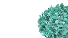 Αφηρημένη πράσινη hexagon σφαίρα τρισδιάστατος δώστε ταπετσαρία Διάστημα μικροϋπολογιστών Στοκ Εικόνες