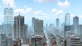 Αφηρημένη πόλη κεντρικός στην ημέρα ελεύθερη απεικόνιση δικαιώματος