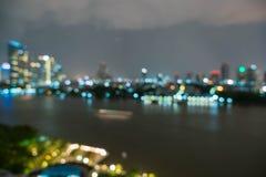 Αφηρημένη πόλη της Μπανγκόκ θαμπάδων στην Ταϊλάνδη Στοκ Φωτογραφία