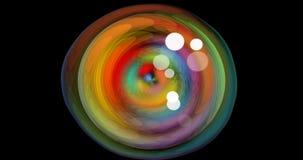 Αφηρημένη σήραγγα ουράνιων τόξων κύκλων με τις άσπρες τυχαίες εμφανιμένος φυσαλίδες Άνευ ραφής κινηματογράφος στα psychedelic χρώ ελεύθερη απεικόνιση δικαιώματος