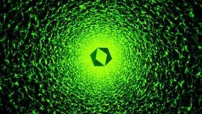 Αφηρημένη σήραγγα σε πράσινο με το πολύπλευρο κομμάτι πετάγματος διανυσματική απεικόνιση