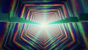 Αφηρημένη σήραγγα στο πολυ χρώμα με το φως στο τέλος απεικόνιση αποθεμάτων