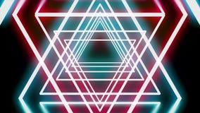 Αφηρημένη σήραγγα των τριγώνων νέου, κινούμενα αστέρια του Δαβίδ στο μαύρο υπόβαθρο, άνευ ραφής βρόχος : Κόκκινο πυράκτωσης και φιλμ μικρού μήκους