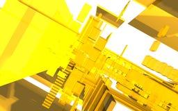Αφηρημένη σκηνή, ζωηρόχρωμη φουτουριστική δομή Στοκ Εικόνες