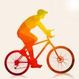 Αφηρημένη σκιαγραφία ατόμων ποδηλατών διανυσματική απεικόνιση