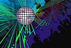 αφηρημένη σκιαγραφία μουσικής του DJ ανασκόπησης τέχνης Στοκ Εικόνες