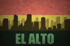 Αφηρημένη σκιαγραφία της πόλης με το κείμενο EL Alto στην εκλεκτής ποιότητας βολιβιανή σημαία απεικόνιση αποθεμάτων