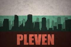 Αφηρημένη σκιαγραφία της πόλης με το κείμενο Pleven στην εκλεκτής ποιότητας βουλγαρική σημαία Στοκ φωτογραφίες με δικαίωμα ελεύθερης χρήσης