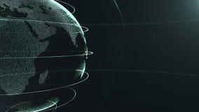 αφηρημένη σφαίρα καλλιεργημένος Συνδεδεμένα κιτρινωπά πράσινα σημεία με τις γραμμές Διεπαφή παγκοσμιοποίησης Ο πλανήτης κινείται ελεύθερη απεικόνιση δικαιώματος