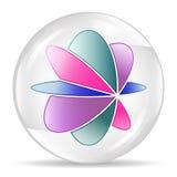 Αφηρημένη σφαίρα, κύκλος Άσπρη φυσαλίδα με το αφηρημένο λουλούδι μέσα διανυσματική απεικόνιση
