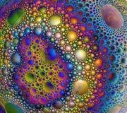 Αφηρημένη σφαιρική επιφάνεια που καλύπτεται με τις πολύχρωμες πτώσεις, bubb απεικόνιση αποθεμάτων