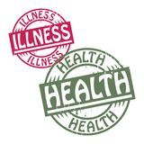 Αφηρημένη σφραγίδα grunge που τίθεται με την ασθένεια κειμένων - υγεία απεικόνιση αποθεμάτων