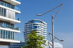Αφηρημένη σύγχρονη αρχιτεκτονική στο Αμβούργο Στοκ Φωτογραφίες