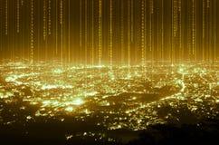 Αφηρημένη σύνδεση γραμμών στοιχείων ψηφιακή στο υπόβαθρο πόλεων νύχτας, στοκ εικόνες