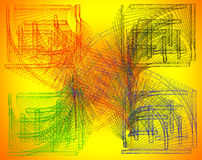Αφηρημένη σύνθεση άσκοπος-χρώματος με χρωματισμένα κτυπήματα σε ένα Υ Στοκ Φωτογραφίες