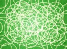 Αφηρημένη σύνθεση των άσπρων κύκλων όγκου σε ένα πράσινο υπόστρωμα τρισδιάστατη ανασκόπηση Στοκ Φωτογραφία
