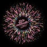 Αφηρημένη σύνθεση υπό μορφή έκρηξης των πυροτεχνημάτων σε ένα σκοτεινό κλίμα Εορταστικός νέος χαιρετισμός έτους ` s διανυσματική απεικόνιση