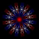 Αφηρημένη σύνθεση χρώματος με γκρίζες σφαίρες και κόκκινη και μπλε EL Στοκ Εικόνα
