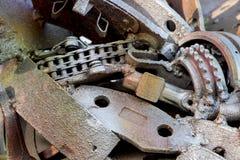 αφηρημένη σύσταση μετάλλων Από τα παλαιά μέρη μετάλλων των μηχανών Στοκ Φωτογραφίες