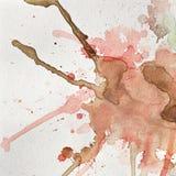 αφηρημένη σύσταση Ρόδινοι και καφετιοί λεκέδες watercolor σε χαρτί Στοκ Εικόνα