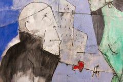 Αφηρημένη τέχνη ζωγραφικής: Άτομο και η πόλη Στοκ Εικόνα