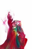Αφηρημένη τέχνη, ράντισμα χρώματος στο άσπρο υπόβαθρο Στοκ Εικόνες