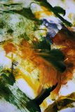 Αφηρημένη τέχνη στο κίτρινο πορτοκάλι και πράσινος Στοκ εικόνα με δικαίωμα ελεύθερης χρήσης