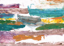 Αφηρημένη τέχνη ύφους γκουας ζωγραφικής - πολύχρωμα σημεία και BR Στοκ Εικόνες