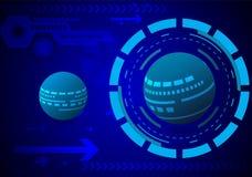 Αφηρημένη τεχνολογία γήινων κύκλων στο σκούρο μπλε διάνυσμα υποβάθρου Στοκ εικόνα με δικαίωμα ελεύθερης χρήσης