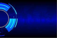 Αφηρημένη τεχνολογία κύκλων με το γήινο χάρτη στο μπλε υπόβαθρο επίσης corel σύρετε το διάνυσμα απεικόνισης Στοκ Φωτογραφίες