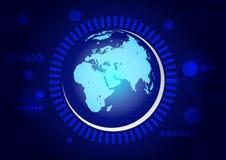 Αφηρημένη τεχνολογία με τη γη στο σκούρο μπλε υπόβαθρο Στοκ Εικόνα