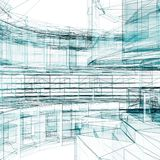 Αφηρημένη τρισδιάστατη απόδοση υποβάθρου αρχιτεκτονικής Στοκ Εικόνα