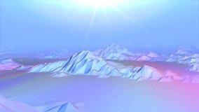 Αφηρημένη τρισδιάστατη ζωτικότητα των χαμηλών πολυ τοπίων βουνών απόθεμα βίντεο