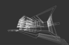 Αφηρημένη, τρισδιάστατη απεικόνιση αρχιτεκτονικής, εμπορικό σχέδιο οικοδόμησης δομών κτηρίου Στοκ Εικόνες