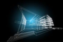 Αφηρημένη, τρισδιάστατη απεικόνιση αρχιτεκτονικής, εμπορικό σχέδιο οικοδόμησης δομών κτηρίου Στοκ Φωτογραφία