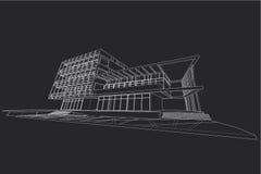 Αφηρημένη, τρισδιάστατη απεικόνιση αρχιτεκτονικής, εμπορικό σχέδιο οικοδόμησης δομών κτηρίου Στοκ εικόνες με δικαίωμα ελεύθερης χρήσης